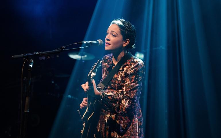 Natalia Lafourcade durante la presentación de su nuevo disco en la sala Bataclan de París