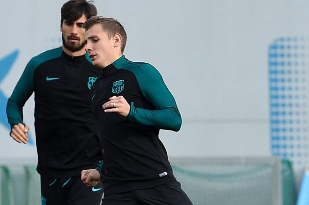 Lucas Digne y André Gomes en un entrenamiento