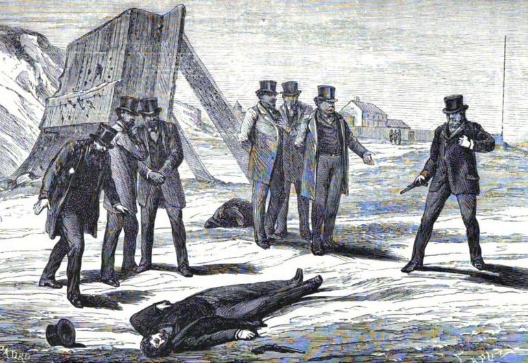 Ilustración del duelo disputado entre Enrique de Borbón y Antonio de Orleáns