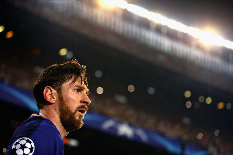 Messi, durante el partido en el Camp Nou