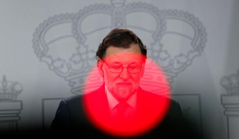 Mariano Rajoy durante la rueda de prensa con el primer ministro danés, Lokke Rasmussen.