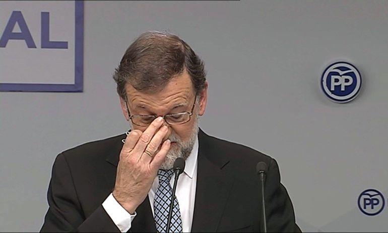 Imagen de televisión facilitada por el PP del líder del partido, Mariano Rajoy, durante su intervención en la reunión del Comité Nacional del partido que se celebra en Madrid
