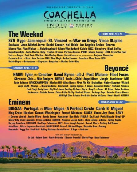 Cartel del Coachella 2018 donde HAIM era la segunda banda en la programación del sábado tras Beyoncé
