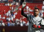 Aug 4, 2018; Landover, MD, USA; Real Madrid goalkeeper Keylor Navas waves to fans during warm ups prior to Real Madrid's game against Juventus during an International Champions Cup soccer match at FedEx Field. Real Madrid won 3-1. Mandatory Credit: Geoff Burke-USA TODAY Sports