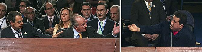 Momento en el que el Rey manda callar a Hugo Chávez antes las interrupciones a Zapatero