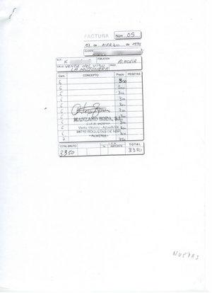 Datos de la factura con fecha 17 de marzo de 1999 que fue presentada para luego regularizar su situación. Los datos del cliente han sido borrados para mantener su anonimato.