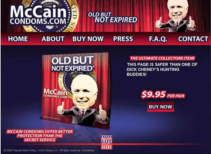 El republicano John McCain, también está presentes en el mercado de los condones.