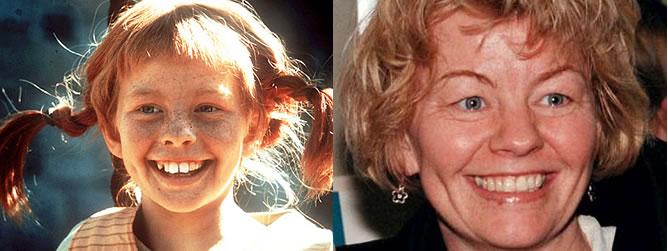 El personaje de Pippi frente a la actriz Inger Nilsson