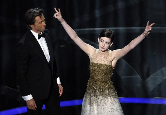 FOTOGALERIA: Hugh Jackman y Anne Hathaway en un momento de la ceremonia