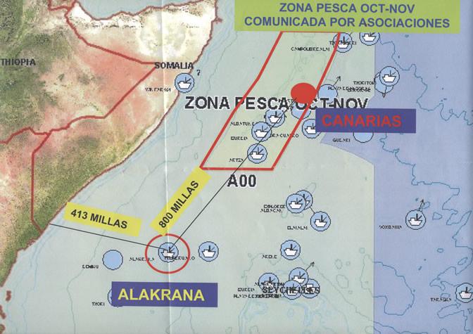 El mapa muestra el lugar donde se produjo el secuestro y lo alejado que el barco estaba de la zona de seguridad. Las coordenadas son 00 12 S 045 38 E