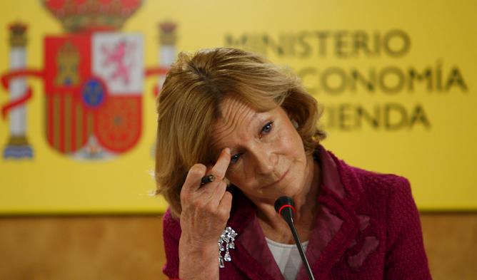 Elena Salgado, durante una comparecencia en su etapa como vicepresidenta económica