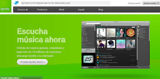 Captura de la página web de Spotify