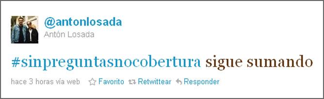 #sinpreguntasnohaycobertura, en el Twitter de Antón Losada