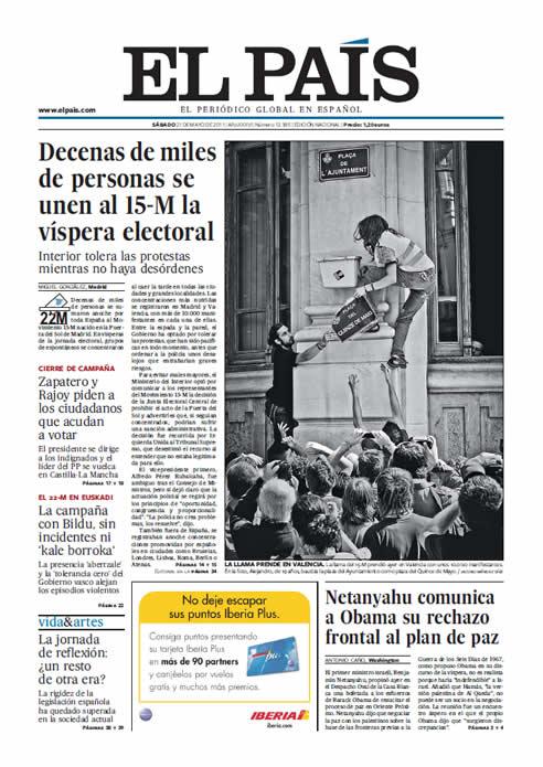 FOTOGALERIA: Portada de El País (Sábado 21 de mayo)