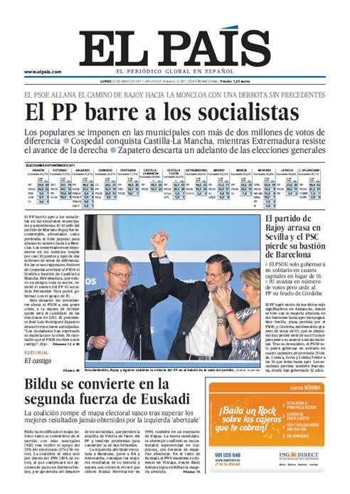 FOTOGALERIA: Portada de El País (23/05/2011)
