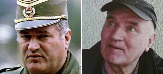 Ratko Mladic en 1993 (a la izquierda) y en 2011 (a la derecha)