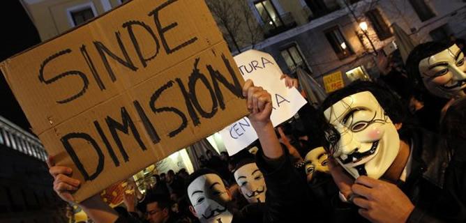 Manifestaciones de 'Anonymous' contra la Ley Sinde
