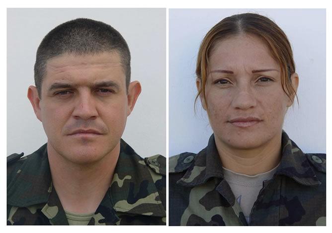 El sargento Manuel Argudin Perrino y la soldado Niyireth Pineda Marín, fallecidos este domingo al explosionar un artefacto al paso del vehículo blindado en el que viajaban en la localidad afgana de Qala-i-Naw