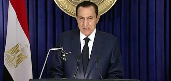 Hosni Mubarak durante un discurso cuando era presidente