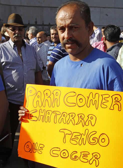 Participantes en la manifestación de los chatarreros