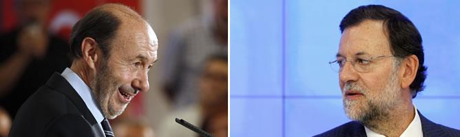 Los candidatos de PSOE y PP a las generales, Rubalcaba y Rajoy