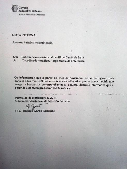 El Gobierno de Bauzá remite una circular a los centros de atención primaria para dejar de financiar íntegramente los pañales