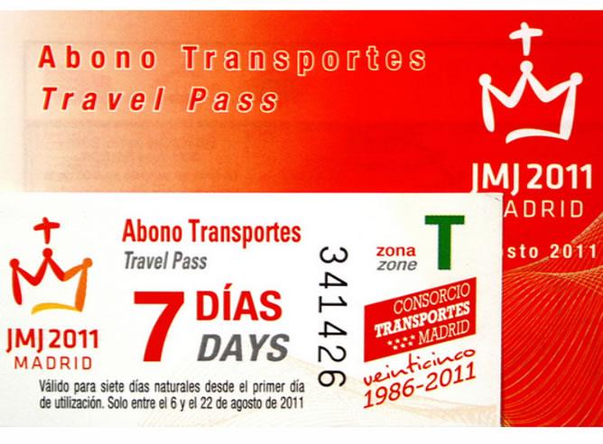 Imagen del abono trasporte ofrecido a los peregrinos de la JMJ