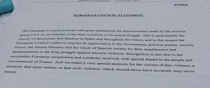 Documento en el que el Consejo Europeo muestra su satisfacción ante el anuncio de ETA