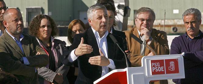 José Blanco, durante su intervención en un acto electoral en la localidad lucense de Burela