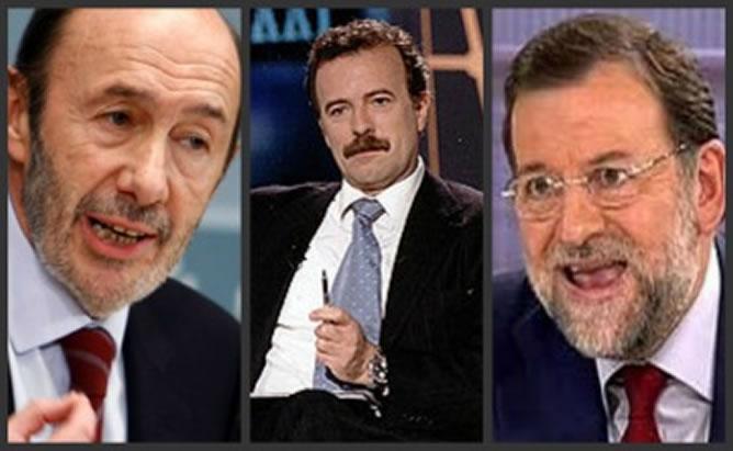 Alfredo Pérez Rubalcaba, Manuel Campo Vidal y Mariano Rajoy