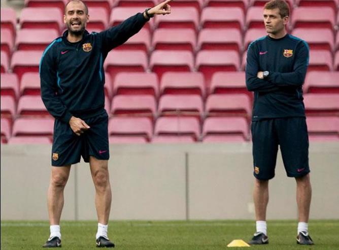 Guardiola y Vilanova, durante un entrenamiento del Barça
