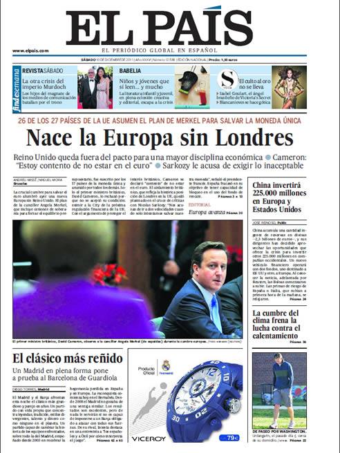 FOTOGALERIA: Portada de El País 10/12/2011