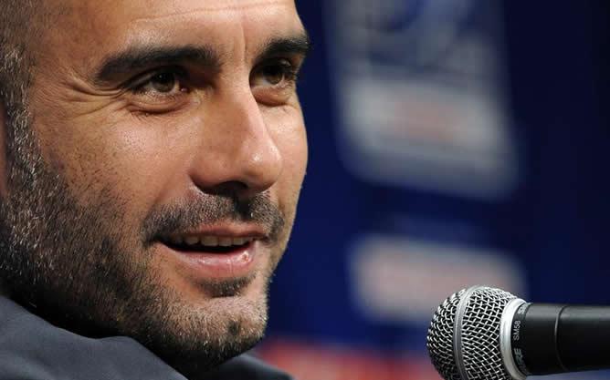 Pep Guardiola durante la rueda de prensa