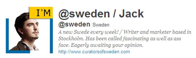 Jack es el primer sueco en gestionar la cuenta de Twitter de Turismo de Suecia