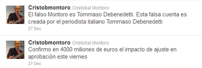 'Tuits' realizados desde la cuenta falsa de Cristóbal Montoro