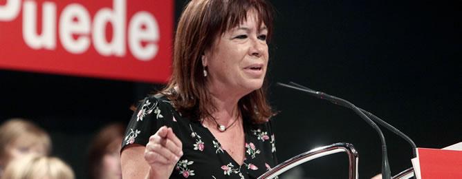 La ex ministra Cristina Narbona, durante su intervención en un acto del PSOE -Foto de archivo-