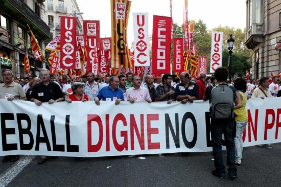 Imatge de la manifestació del 6 d'octubre, que va aplegar 15.000 persones al centre de Barcelona