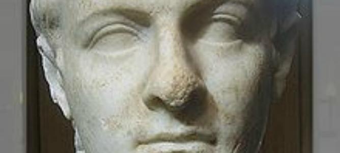 Busto de Calígula del siglo I, actualmente expuesto en Getty Villa.