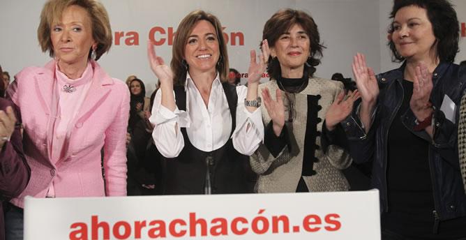Chacón, arropada por la exvicepresidenta De la Vega, en un acto con mujeres