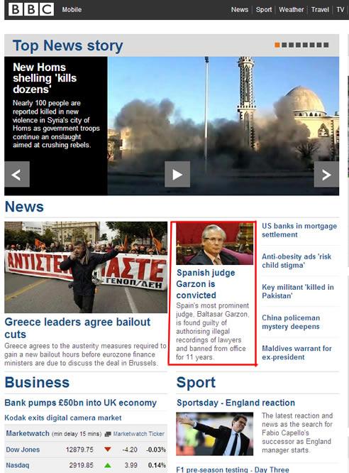FOTOGALERIA: Garzón, en BBC.co.uk