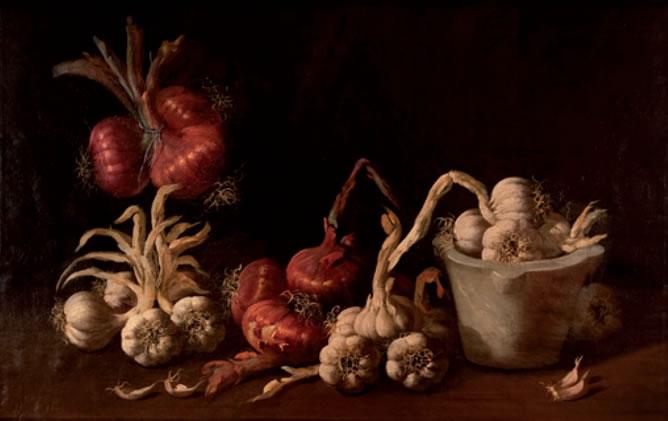 'Bodegón de ajos y cebollas', de M. Millán Rodríguez (Óleo sobre lienzo)