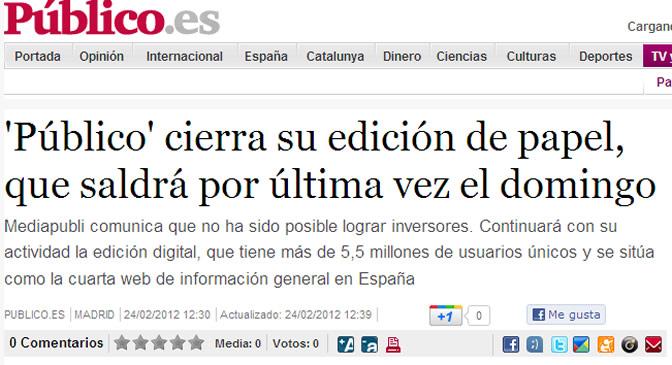 Captura de la noticia que publica Publico.es en su página web