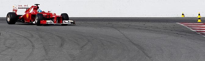 Ferrari rueda en Montmeló el último día de entrenamientos en el trazado catalán