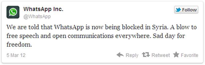 Tweet de la cuenta oficial de WhatsApp
