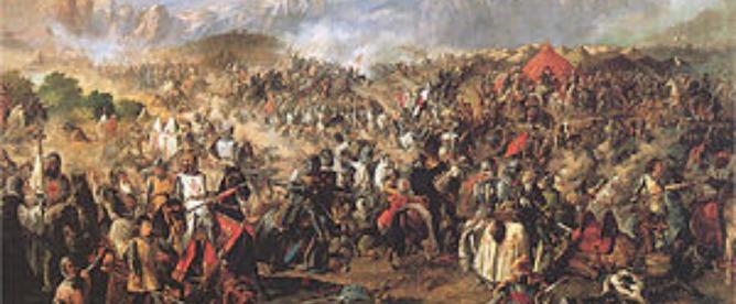 Batalla de Las Navas de Tolosa, de Van Halen, expuesta en el palacio del Senado (Madrid). Pintura al óleo