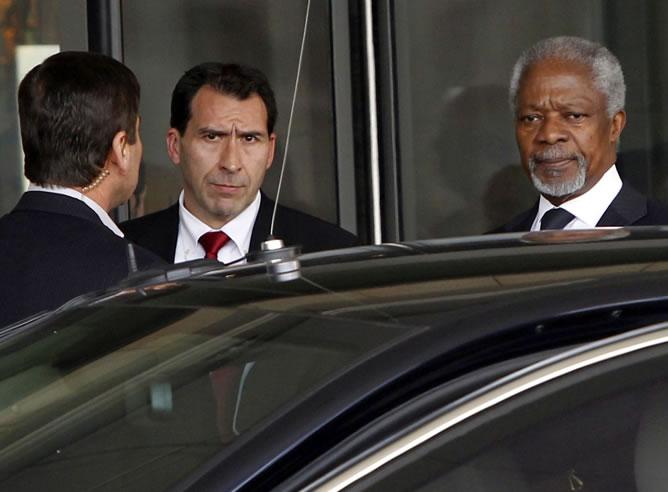 Kofi Annan, a su llegada a Siria