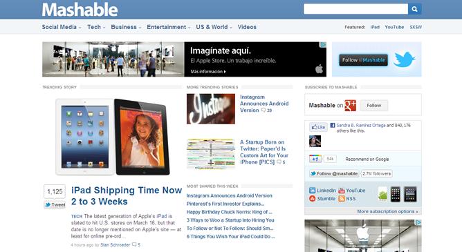 Mashable, el blog de noticias de tecnología que podría ser comprado por la CNN