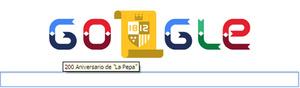 El doodle de este lunes 19 de marzo se consagra al 200 aniversario de la primera constitución española. Sus letras se transforman en banderas y la segunda 0 en un escudo en el que se lee 1812