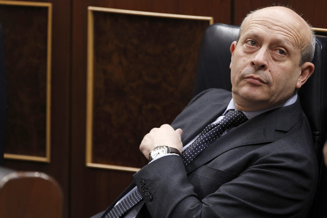 José Ignacio Wert, durante una sesión de control en el Congreso de los Diputados