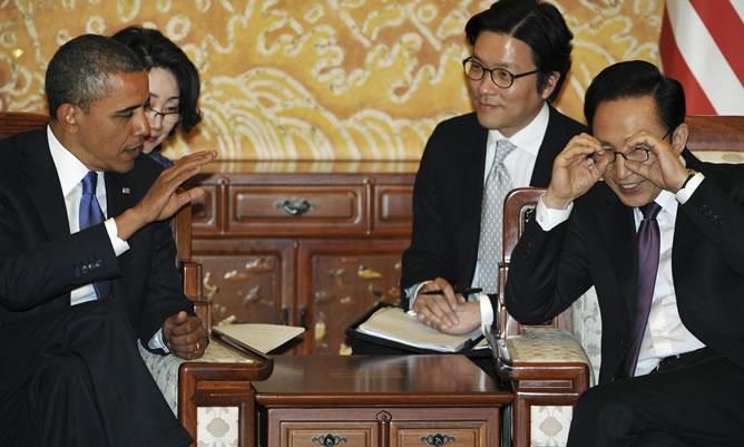 Obama, con el presidente de Corea del Sur, Lee Myung-Bak